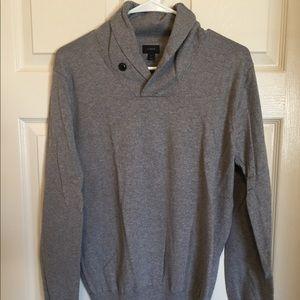 Grey j crew sweater. Shawl collar. Size s